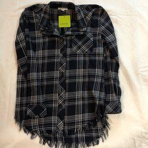 Frayed Navy plaid shirt